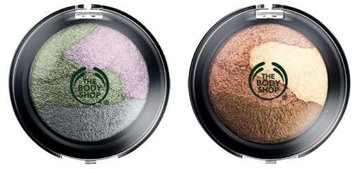 "PEARLESCENTS EYE TRIO (links: 01 ""Moonlight Lustre, rechts: 02 ""Sundown Glow""), Quelle: The Body Shop International PLC"