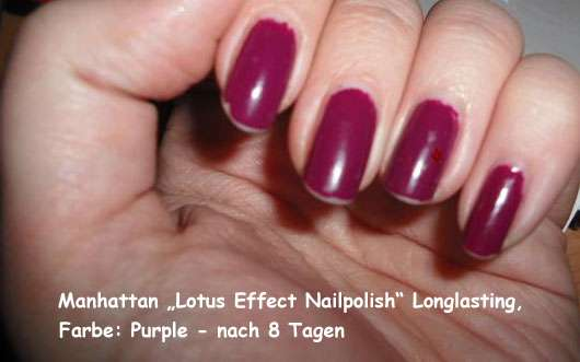 "Manhattan ""Lotus Effect Nailpolish"" Longlasting, Farbe: Purple - nach 8 Tagen"