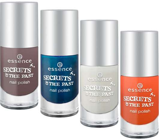essence trend edition secrets of the past nail polish (v.l.n.r.: #01, #02, #03, #04), Quelle: cosnova GmbH