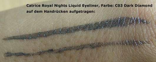 Catrice Royal Nights Liquid Eyeliner, Farbe: C03 Dark Diamond - auf dem Handrücken aufgetragen