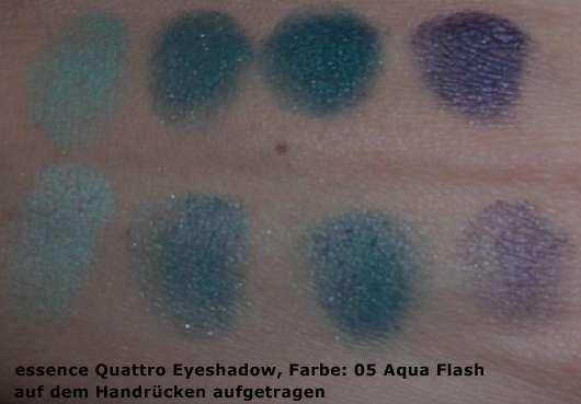 essence Quattro Eyeshadow, Farbe: 05 Aqua Flash - auf dem Handrücken