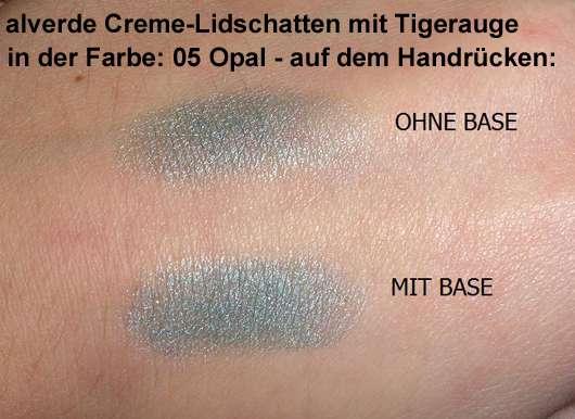 alverde Creme-Lidschatten mit Tigerauge, Farbe: 05 Opal - auf dem Handrücken aufgetragen