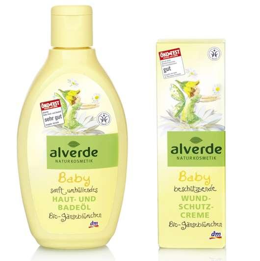 alverde Baby Wundschutzcreme und Baby Haut- und Badeöl, Quelle: alverde NATURKOSMETIK / dm-drogerie markt