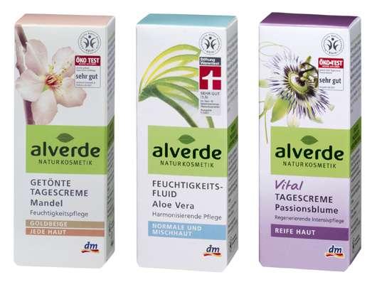 alverde Feuchtigkeitsfluid Aloe Vera, getönte Tagescreme Mandel, Vital Tagescreme Passionsblume, Quelle: alverde NATURKOSMETIK / dm-drogerie markt