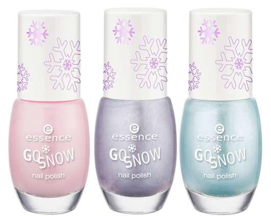essence go snow nail polish (vl.l.n.r.: #01, #02, #04), Quelle: cosnova GmbH