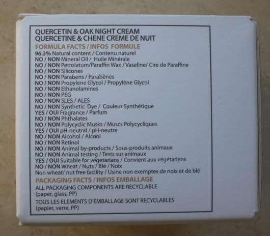 INCI der KORRES QUERCETIN & OAK ANTI-AGEING Nachtcreme
