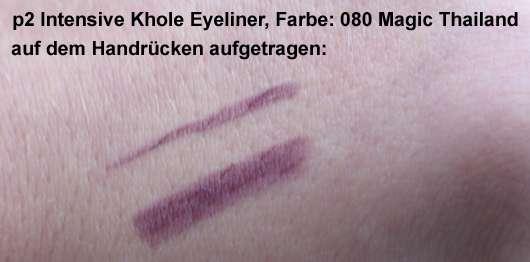 p2 Intensive Khole Eyeliner, Farbe: 080 Magic Thailand - auf dem Handrücken aufgetragen