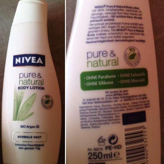 Nivea pure & natural Bodylotion (für normale Haut)