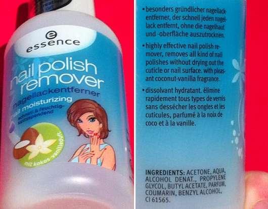 essence nail polish remover mit Kokos-Vanilleduft