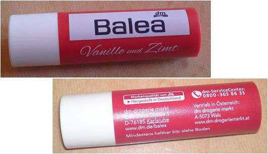 Balea Vanille und Zimt Lippenpflegestift