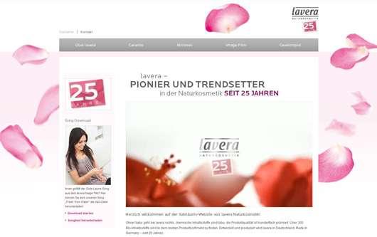 lavera Jubiläums-Website