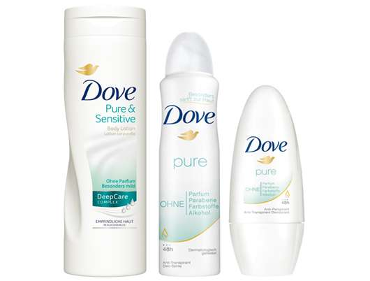 Dove Pure & Sensitive Body Lotion und Dove Pure Deo