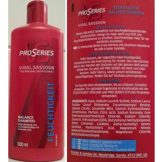 Vidal Sassoon Pro Series Feuchtigkeit Balance Shampoo