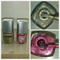 Produktbild zu Jolifin Stamping-Lack – Farben: Raspberry Glitter und Glitzer Gold
