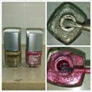 Jolifin Stamping-Lack, Farben: Raspberry Glitter und Glitzer Gold