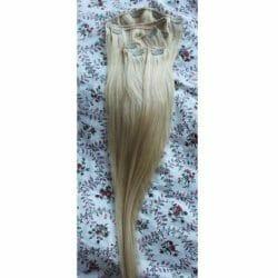 Produktbild zu Haarpacht-Clip 120g Clip in Extensions Echthaar Haarverlängerung 66cm – Farbe: 613 Lichtblond