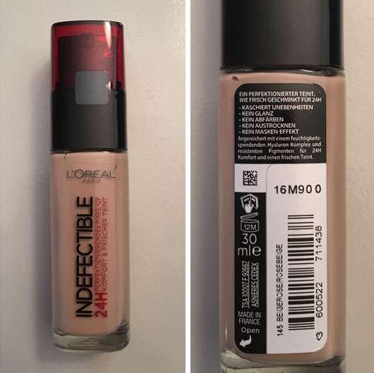 L'Oréal Paris Indefectible 24H Make-Up, Farbe: 145 Beige Rosé