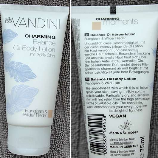 <strong>aldoVANDINI</strong> Charming Balance Oil Body Lotion Frangipani & Wilder Flieder