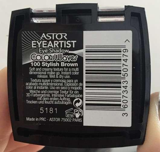 Astor ColorWaves Eye Shadow, Farbe: 100 Stylisch Brown