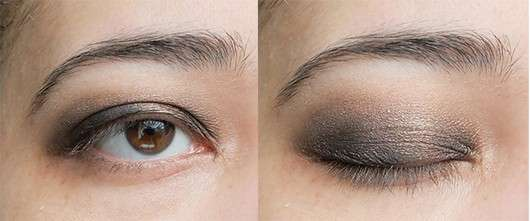 Make Up mit Verwendung einer schwarzen Lidschattenbase