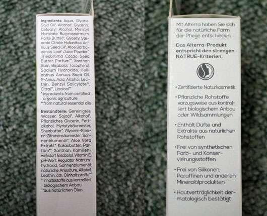 Alterra Nachtcreme Bio-Aloe Vera & Gletscherwasser - Kleingedrucktes auf der Verpackung