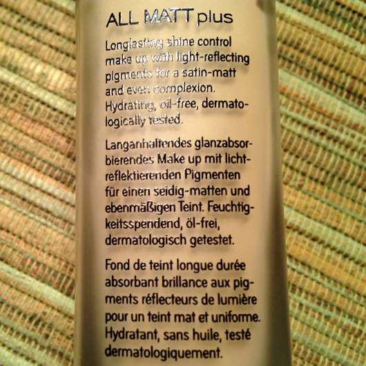 Catrice All Matt Plus Shine Control Make Up, Farbe: 010 Light Beige - Beschreibung auf Flasche