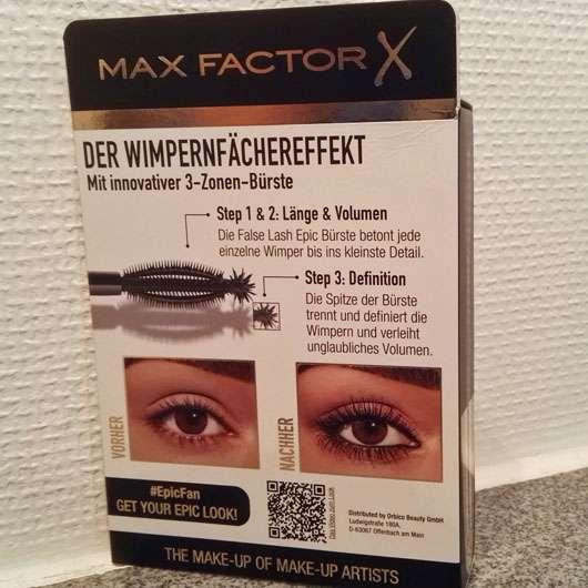 Max Factor False Lash Epic Mascara, Farbe: Black - Verpackung von hinten