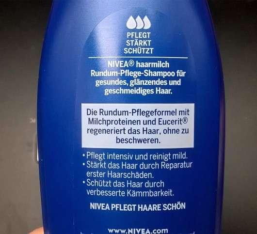 Flaschenrückseite des NIVEA Haarmilch Rundum-Pflege-Shampoos