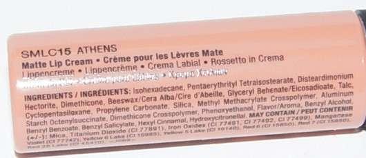 Inhaltsstoffe der NYX Soft Matte Lip Cream, Farbe: Athens