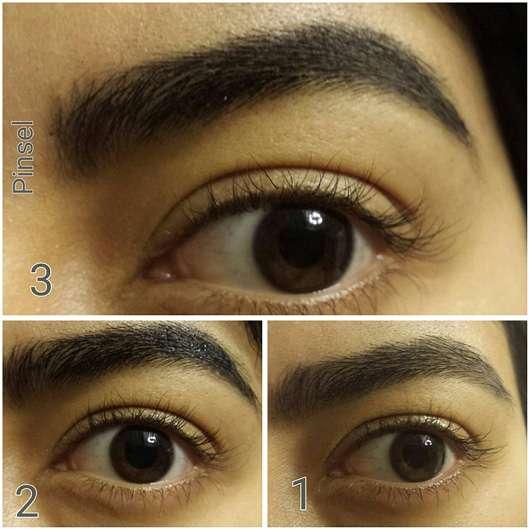 WUNDER2 WUNDERBROW Semi Permanent Eyebrows-Gel, Farbe: Jet Black mit Pinsel aufgetragen
