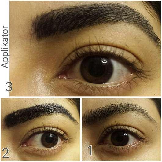 WUNDER2 WUNDERBROW Semi Permanent Eyebrows-Gel, Farbe: Jet Black mit Applikator aufgetragen