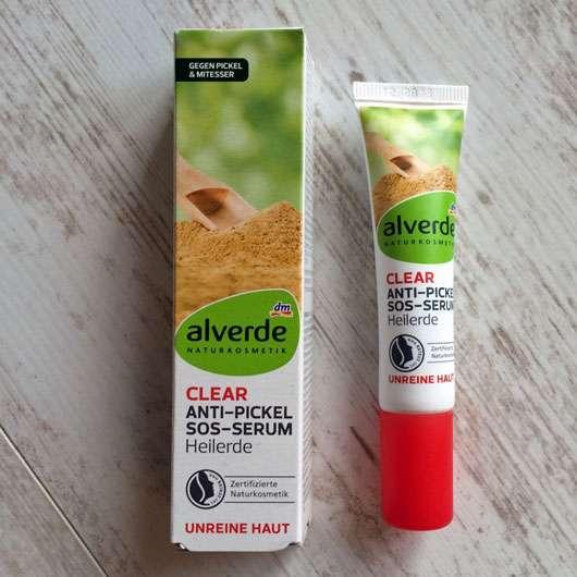 alverde Clear Anti-Pickel SOS-Serum Heilerde - Verpackung und Tube