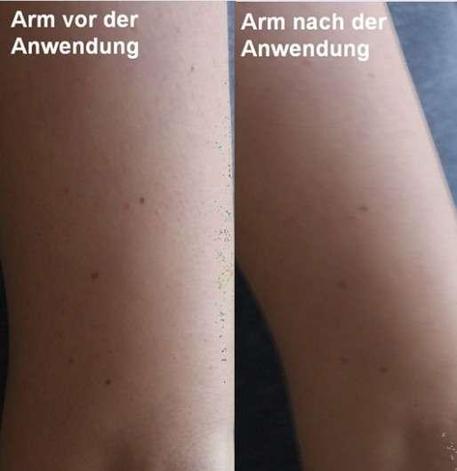 Arm vor/nach der Anwendung der Dove DermaSpa Kaschmir Gefühl Wohlfühl Body Lotion
