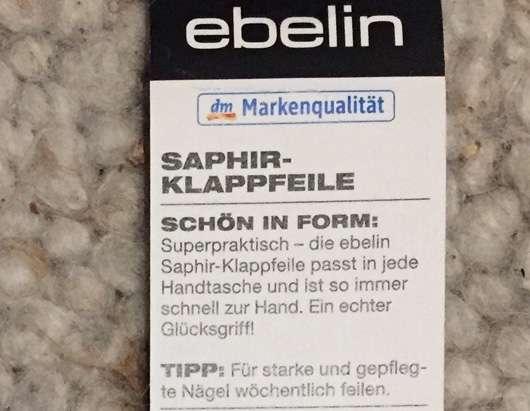 ebelin Saphir-Klappfeile Herstellerangaben
