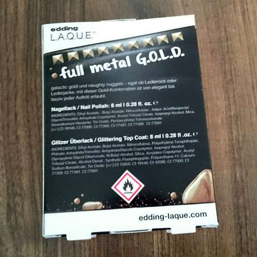 edding L.A.Q.U.E. heavy M.E.T.A.L.S. Nagellack, Farbe: full metal G.O.L.D. (LE) - Verpackung Rückseite