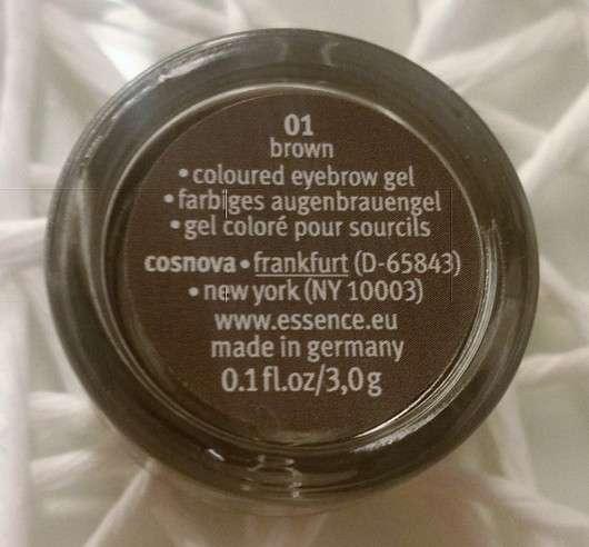 Rückseite - essence eyebrow gel colour & shape, Farbe: 01 brown