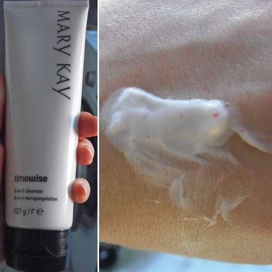 Tube und Swatch des Mary Kay TimeWise 3-In-1 Cleanser