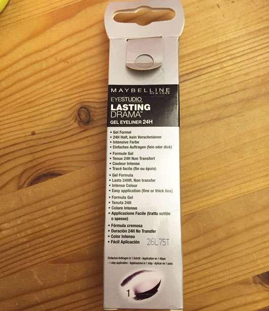 Maybelline Eyestudio Lasting Drama Gel Eyeliner 24H, Farbe: 01 Black Herstellerangaben