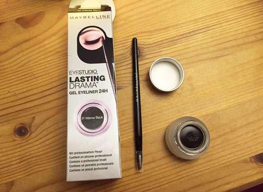 Maybelline Eyestudio Lasting Drama Gel Eyeliner 24H, Farbe: 01 Black Verpackung und Produkt