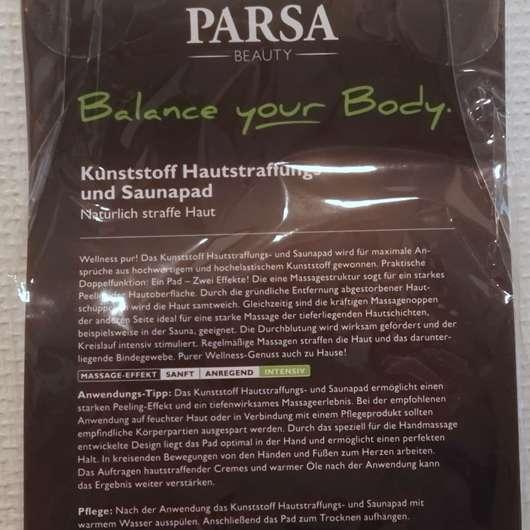 Verpackungsrückseite des PARSA Beauty Hautstraffungs- und Saunapad
