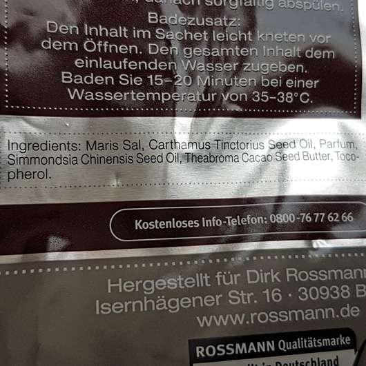 """Wellness & Beauty 2in1 Meersalz-Öl-Peeling und -Bad """"zartschmelzend liebkost"""" (LE) Inhaltsstoffe"""