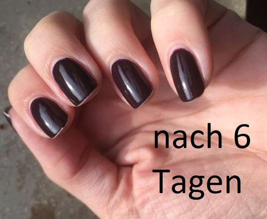 lackierte Nägel nach 6 Tagen - Catrice Ultimate Nail Lacquer, Farbe: 121 Plump Around