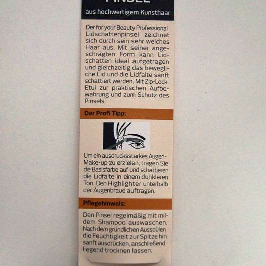 Verpackungsrückseite - for your Beauty Professional Lidschattenpinsel