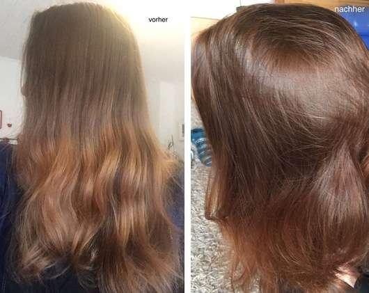 Khadi Pflanzenhaarfarbe Natürliches Nussbraun Haare vorher und nachher