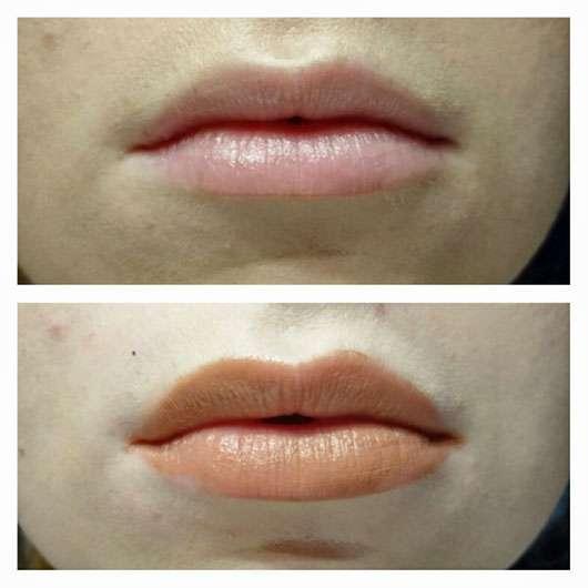 NYX Soft Matte Lip Cream, Farbe: Abu Dhabi Lippen mit und ohne Produkt