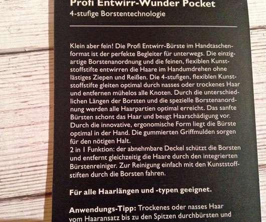 PARSA Beauty Profi Entwirr-Wunder Pocket - Beschreibung Rückseite
