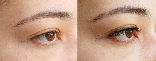 Auge ohne/mit Alterra Butter Wonder Fly Mascara