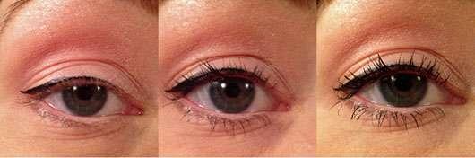 ASTOR Lash Beautifier Volume & 24h Curl Mascara, Farbe: 800 Black - Collage Augen mit und ohne Produkt
