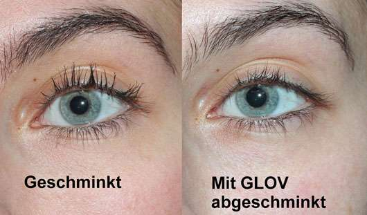 GLOV On-The-Go Gesichts-Reinigungs-Handschuh - Augen vor und nach der Anwendung