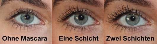 Max Facor False Lash Epic Mascara, Farbe: Black - Collage Auge von vorne mit und ohne Mascara